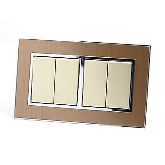 I LumoS AS Luxury Gold Satin Metal Double Frame 4 Gang 1 Way Rocker Light Switches
