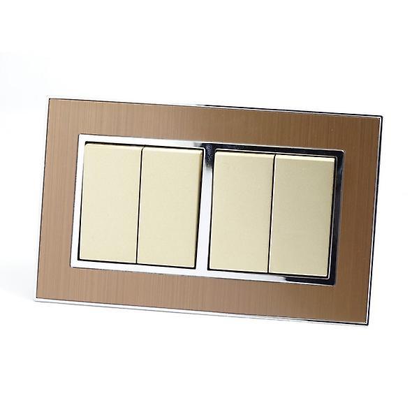 I LumoS AS Luxury Gold Satin Metal Double Frame 4 Gang 2 Way Rocker Light Switches