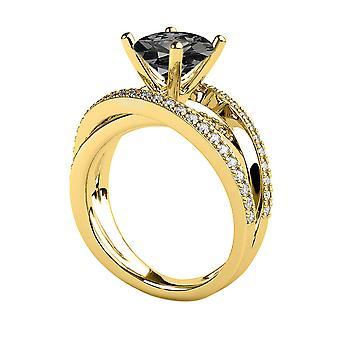3.50 CTW Black Diamond Ring 14K Gelb Gold Multi Band einzigartige Designer