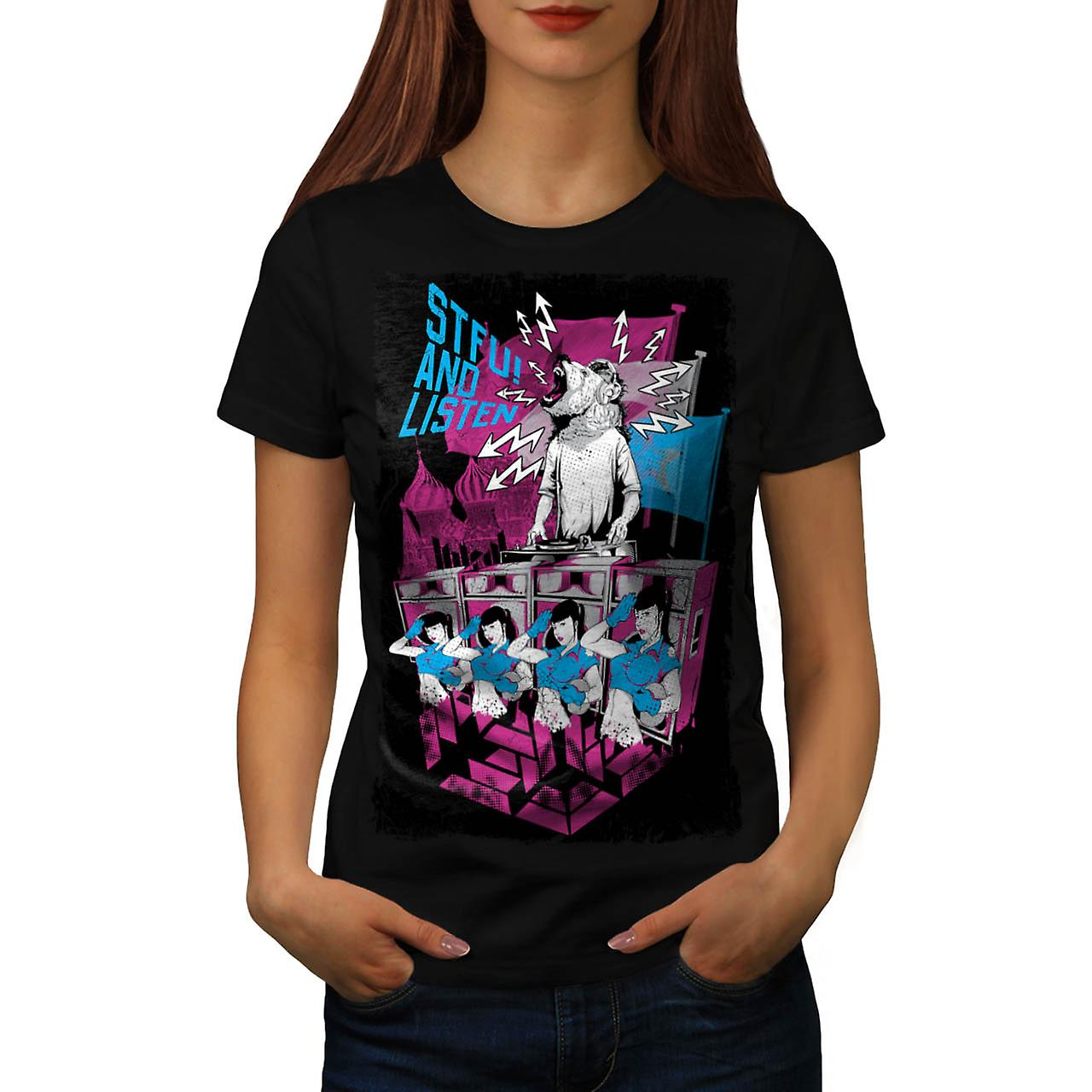 DJ Music Brown Bear Dance Rave Women Black T-shirt | Wellcoda