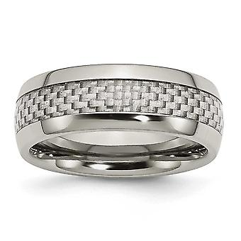 Stainless Steel and Grey Carbon Fiber 8mm Polished Band Ring - Size 10.5