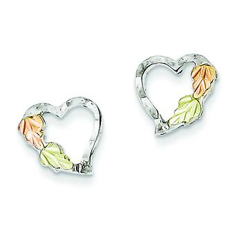 Sterling Silver and 12k Heart Post Earrings