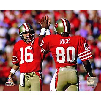 Joe Montana & Jerry Rice 1986 Actiion Photo Print