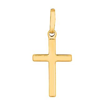 14k Yellow Gold Shiny Square Flat Style Cross Pendant