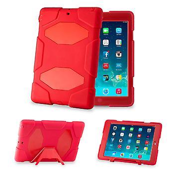 Obrońca twardy prądem dowód Triple wypadku pokrycie dla Apple iPad Mini - czerwony