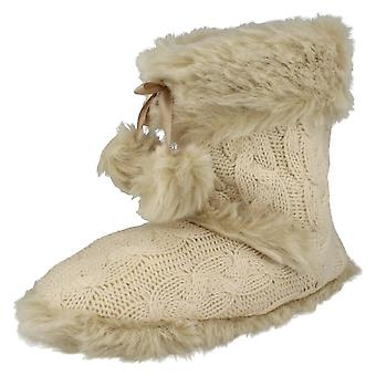 Ladies Spot On Slip On Bootee Slippers X2037