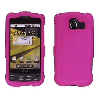 To stykke Soft Touch Snap-On sag for LG Optimus S LS670, Optimus U US670 - Pink