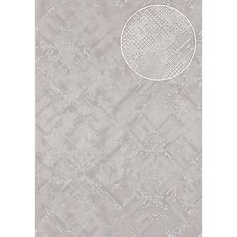 Graphic wallpaper Atlas SIG-085-4 non-woven wallpaper textured with abstract pattern shimmering silver white-aluminium pure white light grey 7,035 m2