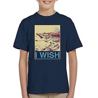 Ich möchte Angeln Shepherd Fairey Stil Kinder T-Shirt