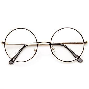 Lennon midt størrelse Full metallramme klart linse runde glass