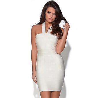 White Halter Neck Bandage Dress