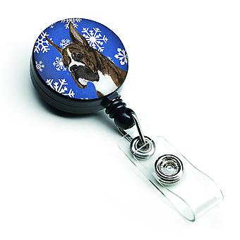 Boxer Winter Snowflakes Holiday Retractable Badge Reel