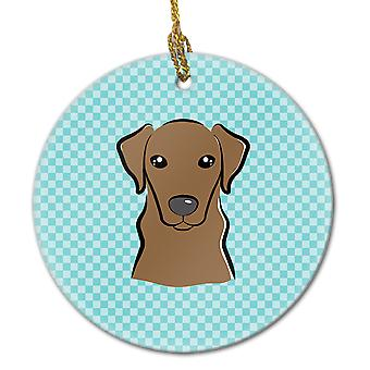 Schachbrett Blue Chocolate Labrador keramischen Ornament