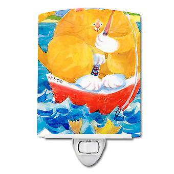 Carolines Treasures  6014CNL Big Orange Tabby Fishing Ceramic Night Light
