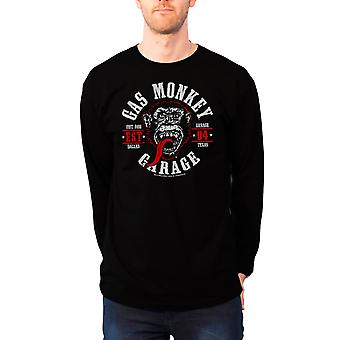 Gas Monkey Garage T Shirt Round Seal Logo Official Mens New Black Long Sleeve