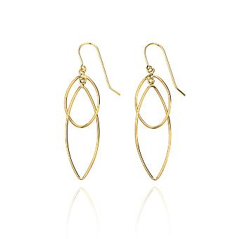 14k Yellow Gold High Polished Pointing Oval Earring with Fish Hook in Gift Box