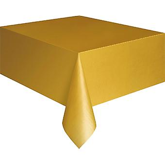 Gold Plastic Tablecloth - 137cm x 274cm
