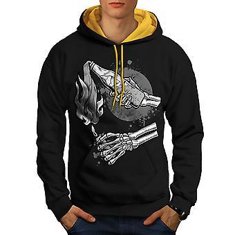 Molotov Cocktail Gangster Men Black (Gold Hood)Contrast Hoodie | Wellcoda
