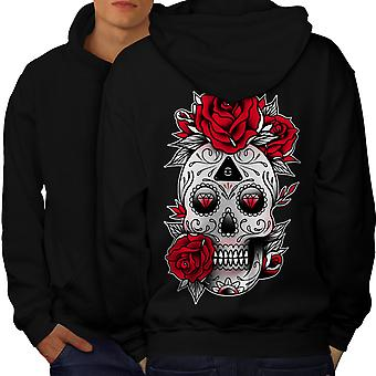 Cute Skull Men BlackHoodie Back | Wellcoda