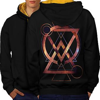 Geometric Art Fashion Men Black (Gold Hood)Contrast Hoodie Back | Wellcoda
