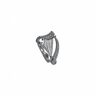 Silver 29x19mm Irish Harp Brooch
