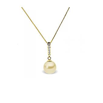 Necklace pendant Pearl of Culture of water soft gold, diamonds and yellow gold 375/1000
