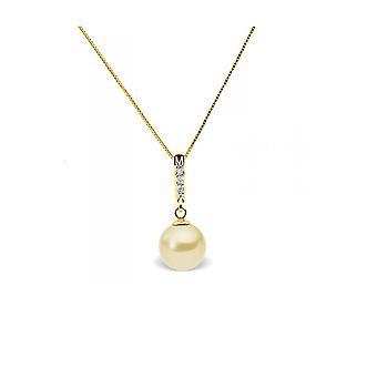 Collier Pendentif Perle de Culture d'eau douce Dorée, Diamants et Or Jaune 375/1000
