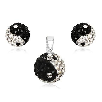 Yin Yang in Crystal and 925 Silver earrings and pendant set