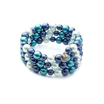 Armbånd 3 rækker i blå perler og Rhodium plade