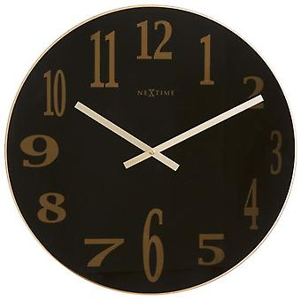 Nextime Wall Clock Ø 43X3,5 Cm Glass Black Smoky Mirror Glass (Decoration , Clocks)