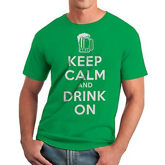 Humor Keep Calm Drink On Men's Kelly Green T-shirt