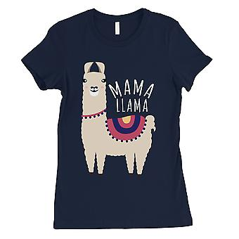 Mama Llama Womens Navy Short Sleeve Tee Shirt Cute Mothers Day Gift