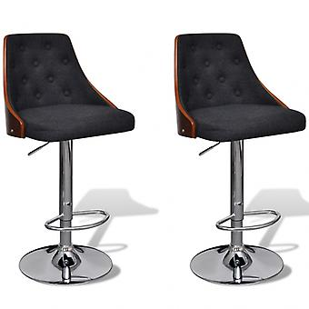 Lot de 2 tabourets de bar noir et bois top design moderne 1202018