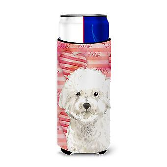 Love a Bichon Frise Michelob Ultra Hugger for slim cans