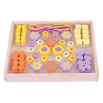 Bigjigs giocattoli in legno colorato fiore perlina Box - arti e mestieri
