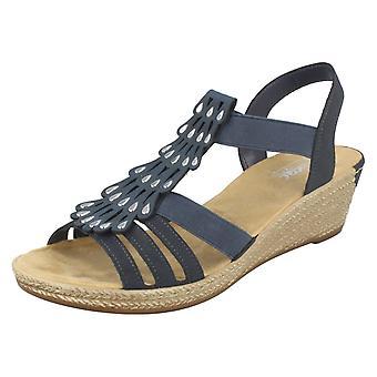 Ladies Rieker Wedge Heel Sandals 62436-14 - Blue Synthetic - UK Size 6 - EU Size 39 - US 8