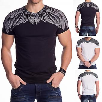Mens T-Shirt Short Sleeved Printed Feather Slim Tee Crew Neck Summer Black White