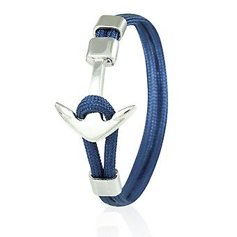Skipper anchor bracelet 21 cm nylon arm jewellery in Navy with silver anchor 6957