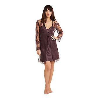 LingaDore 3009KM Women's La Notte Floral Lace Dressing Gown Loungewear Bath Robe Kimono