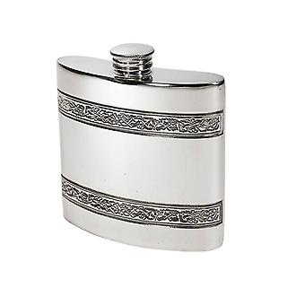 Celtic Horizontal Bands Embossed Pewter Kidney Flask - 4oz