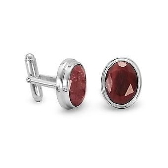 Sterling Silver and Rough-cut Corundum Cuff Links The Faceted Oval Corundum Measure 11mm X 15mm