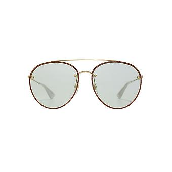 Gucci Glitter Round Sunglasses In Gold Green