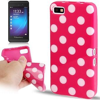 Skyddande fall TPU punkterna i fallet för mobila BlackBerry Z10 rosa