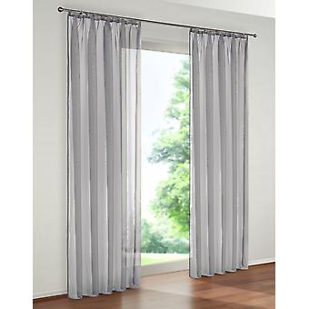 «My home set of 2 transparent uni curtain» Cluny «grey with Ribbon»