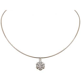 Damer - kjede - anheng - snowflake - 925 sølv - 1,3 cm