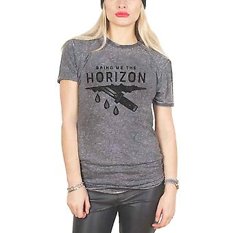 Bring Me The Horizon T Shirt Wound Official Womens New Grey Burn Out Skinny Fit