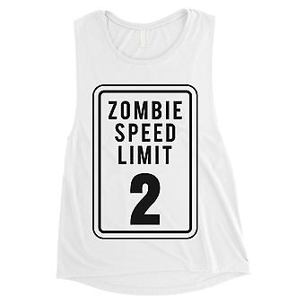 Zombie Speed Limit Womens White Muscle Shirt
