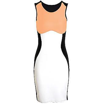 Damen Celeb Towie Optische Täuschung Schlank Effect Kontrast Bodycon Kleid der Frauen