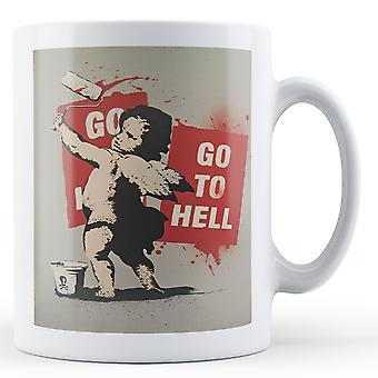 Printed mug featuring Banksy's, 'Go to Hell Fairy 2' artwork [Office Product]