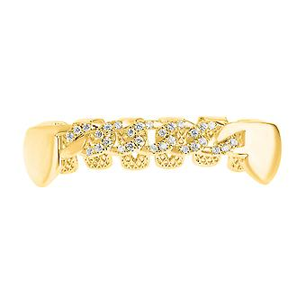 One size fits all Bottom Grillz - Zirkonia Curb Kette gold